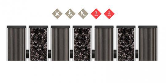 Грязезащитная алюминиевая решетка СТРИТ ПРЕМИУМ Резина + Ворс