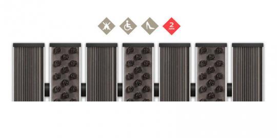 Грязезащитная алюминиевая решетка СТРИТ ПРЕМИУМ Резина + Щетка
